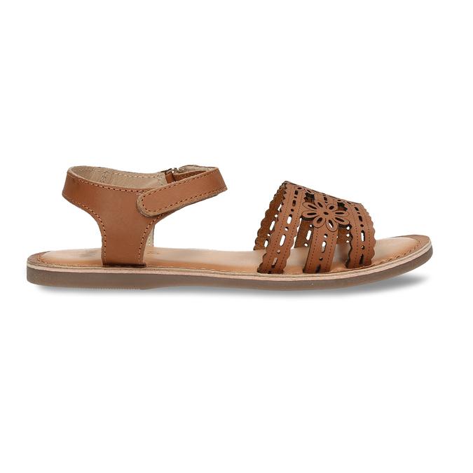 Kožené hnědé dětské sandály s perforací mini-b, hnědá, 466-4619 - 19