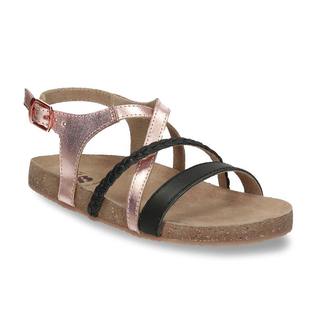 Rose gold sandály s černými pásky mini-b, zlatá, 266-6605 - 13