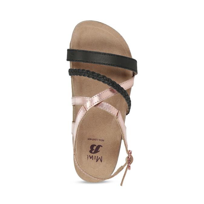 Rose gold sandály s černými pásky mini-b, zlatá, 266-6605 - 17