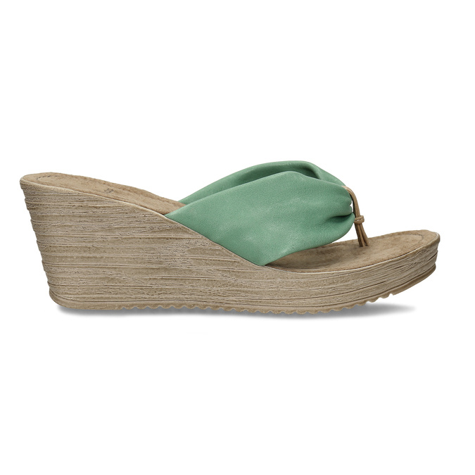 Kožené pantofle se zeleným prvkem v bohémském stylu bata, zelená, 764-7612 - 19