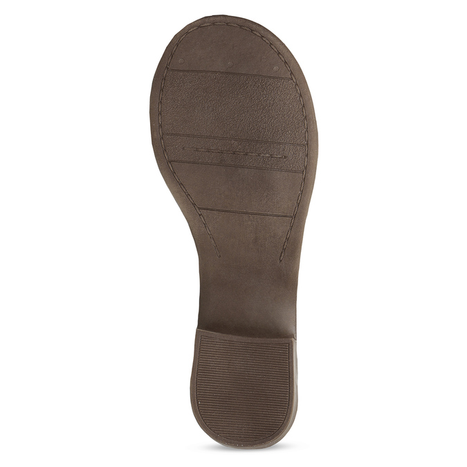Hnědé dámské kožené páskové sandály bata, hnědá, 664-4614 - 18