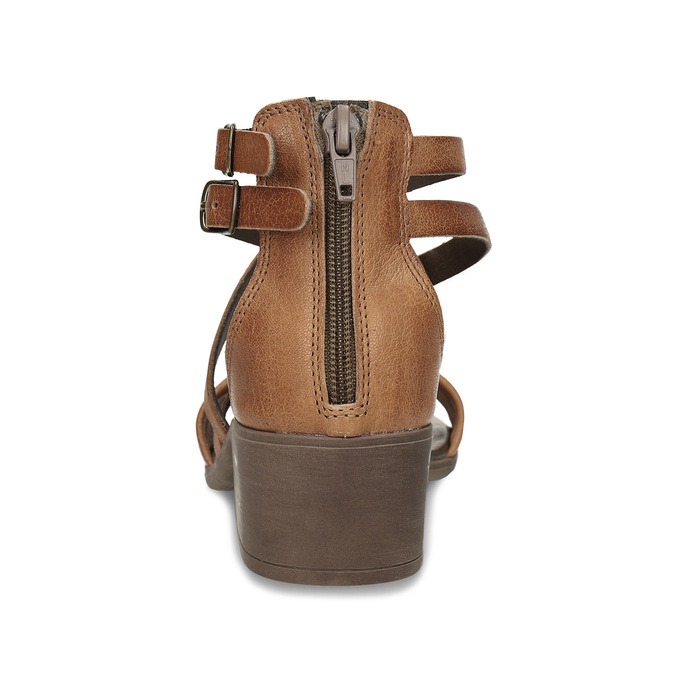Hnědé dámské kožené páskové sandály bata, hnědá, 664-4614 - 15
