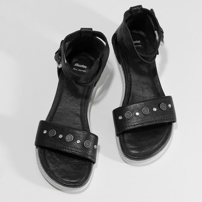 Černé dámské kožené sandály s kamínky bata, černá, 564-6614 - 16