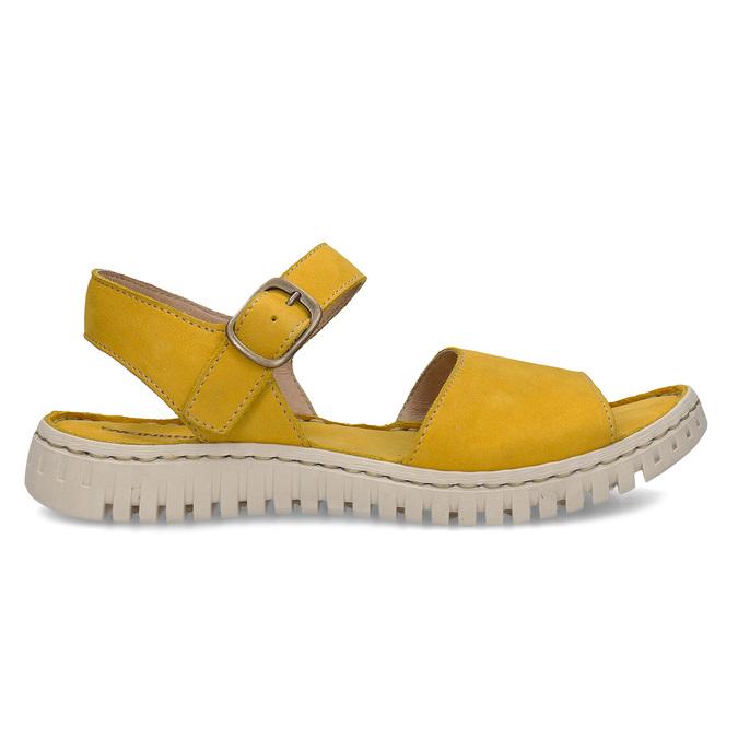 Žluté dámské kožené sandály s flexibilní podešví weinbrenner, žlutá, 566-8623 - 19
