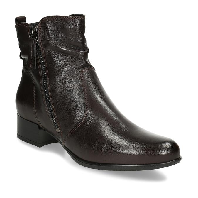 Dámská hnědá kožená kotníková obuv na zip bata, hnědá, 594-4692 - 13
