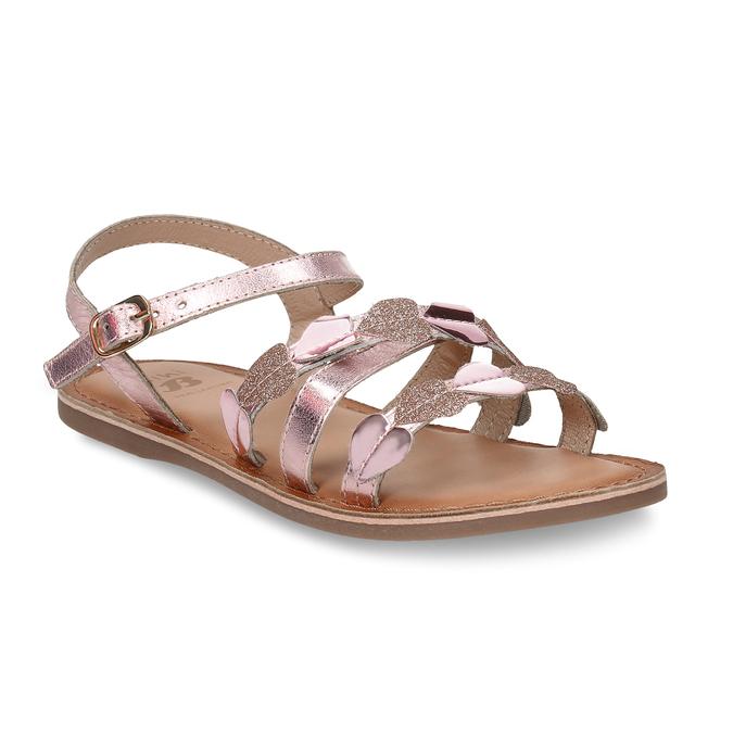 Růžové dětské kožené sandály se srdíčky mini-b, růžová, 466-8620 - 13