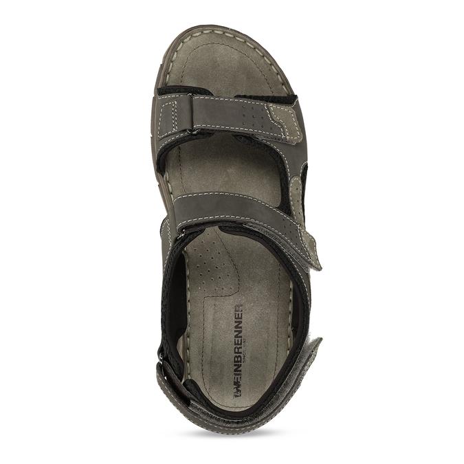 Šedé pánské kožené sandály ve sportovním střihu weinbrenner, šedá, 866-4604 - 17