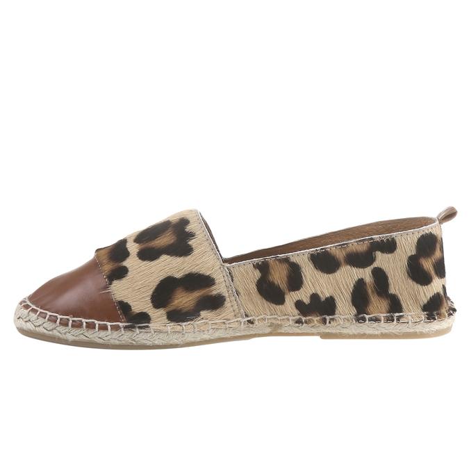 Výjimečné espadrilky s motivem leopardí kůže bata, hnědá, 2018-555-4300 - 15