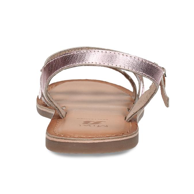 Růžové dětské kožené sandály se srdíčky mini-b, růžová, 466-8620 - 15