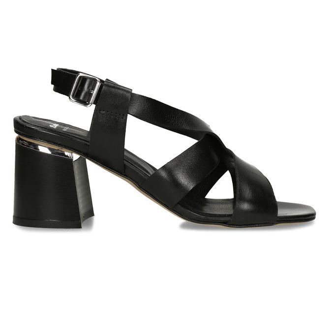 Kožené sandály v černé barvě na vysokém podpatku bata, černá, 764-6605 - 19