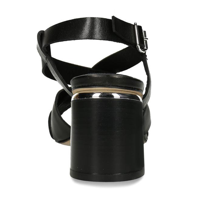 Kožené sandály v černé barvě na vysokém podpatku bata, černá, 764-6605 - 15