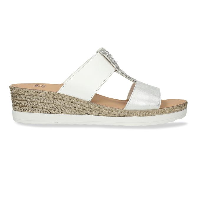 Kožené dámské pantofle na klínku bílé comfit, bílá, 566-1606 - 19