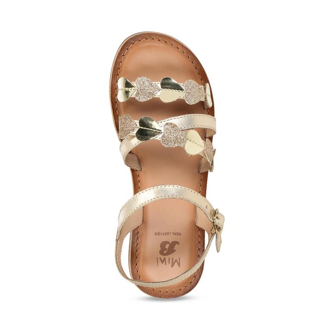 Dětské zlaté kožené sandály se srdíčky mini-b, zlatá, 466-5620 - 17