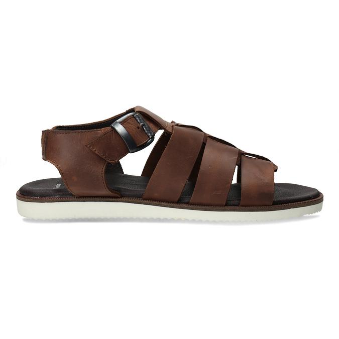 Hnědé pánské kožené sandály se zapínáním u kotníků bata, hnědá, 866-4606 - 19
