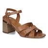 Hnědé dámské kožené sandály na širokém podpatku bata, hnědá, 764-4600 - 13