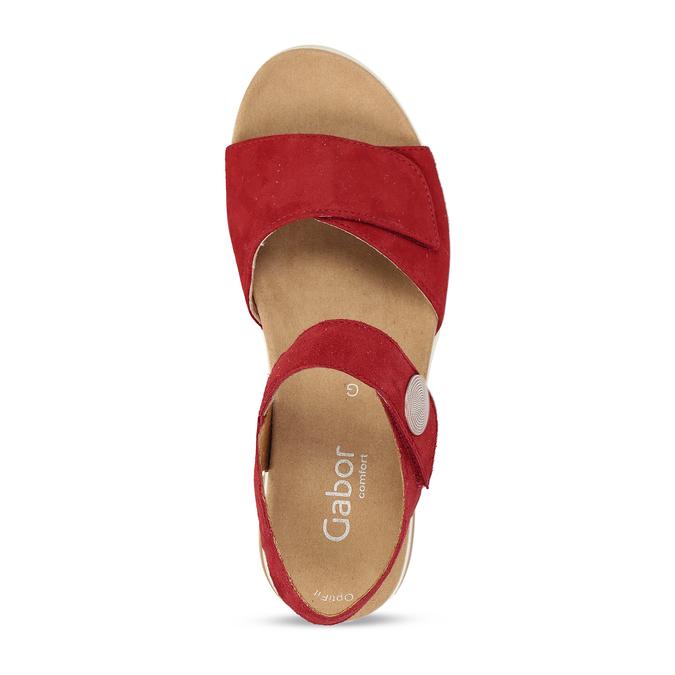 Červené dámské kožené sandály na hrubé podešvi gabor, červená, 563-5104 - 17