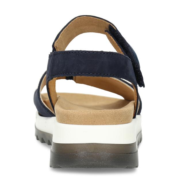 Tmavě modré kožené sandály na hrubé podešvi gabor, modrá, 563-9104 - 15