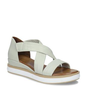 Dámské kožené sandály na silnější podešvi v jemně šedé barvě bata, šedá, 664-8616 - 13