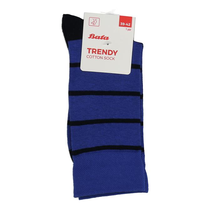 Vysoké modré bavlněné pánské ponožky s černými pruhy bata, modrá, 919-9672 - 13