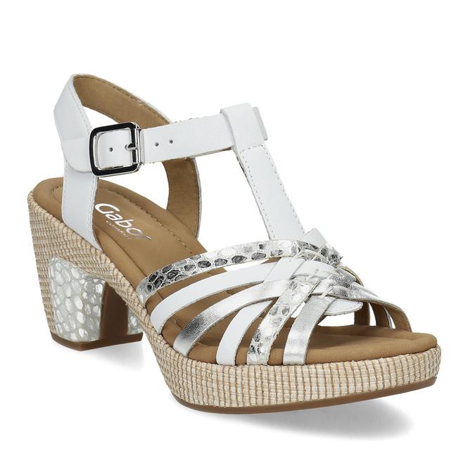 Kožené dámské sandály na podpatku gabor, bílá, 666-1101 - 13