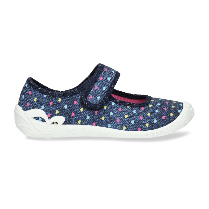 Modrá dívčí domácí obuv se srdíčky mini-b, modrá, 279-9601 - 19