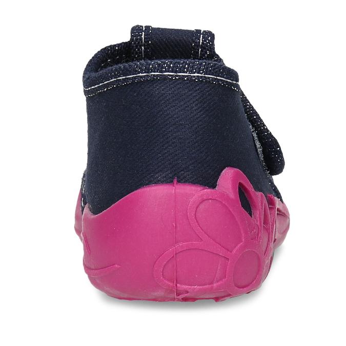 Dívčí papučky s růžovou podešví mini-b, modrá, 179-9605 - 15