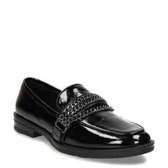 Lesklé dámské mokasíny s řetízky bata, černá, 511-6604 - 13