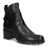 Černá dámská kožená kotníková obuv s pásky bata, černá, 694-6629 - 13