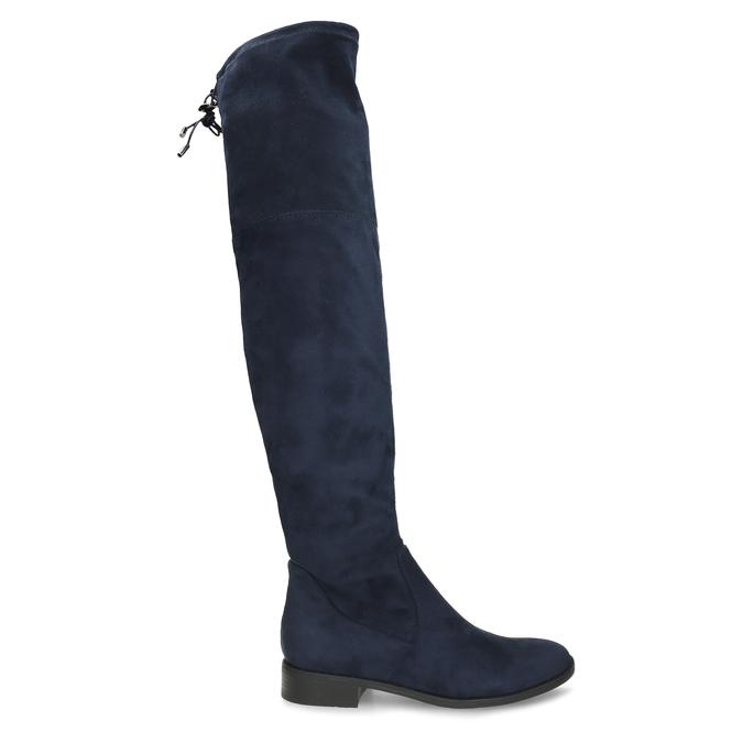 Tmavě modré vysoké kozačky na tenké podešvi bata, modrá, 599-9601 - 19