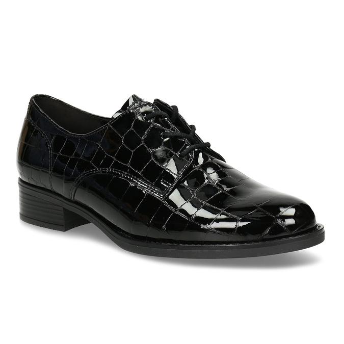 Černé dámské lakované kožené polobotky s krokodýlí texturou gabor, černá, 546-6104 - 13