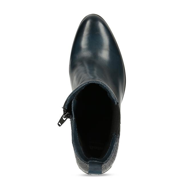 Dámská obuv v Chelsea stylu na podpatku v modré kůži bata, modrá, 794-9601 - 17