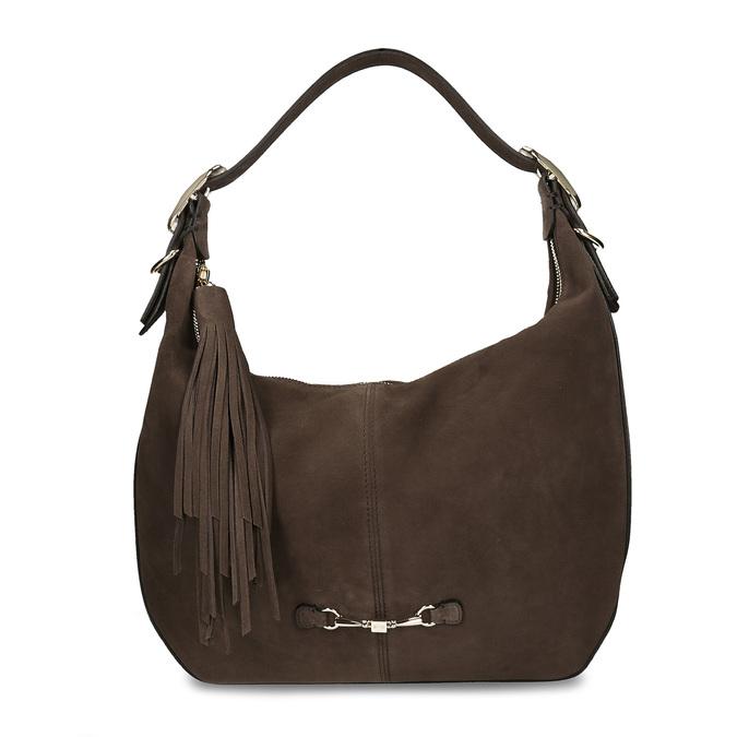 Tmavěhnědá kožená kabelka s třásní hogl, hnědá, 963-4601 - 26