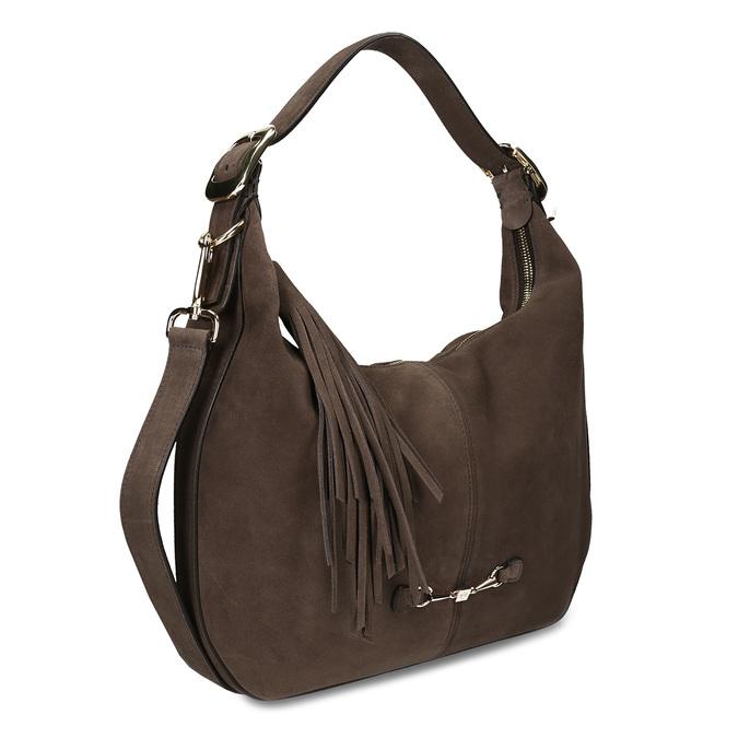 Tmavěhnědá kožená kabelka s třásní hogl, hnědá, 963-4601 - 13
