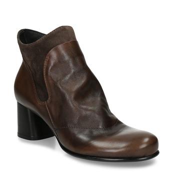Hnědá kožená kotníková obuv s řasením na nártu bata, hnědá, 696-4612 - 13