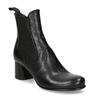 Vyšší černá kožená kotníková obuv s pružením bata, černá, 694-6660 - 13