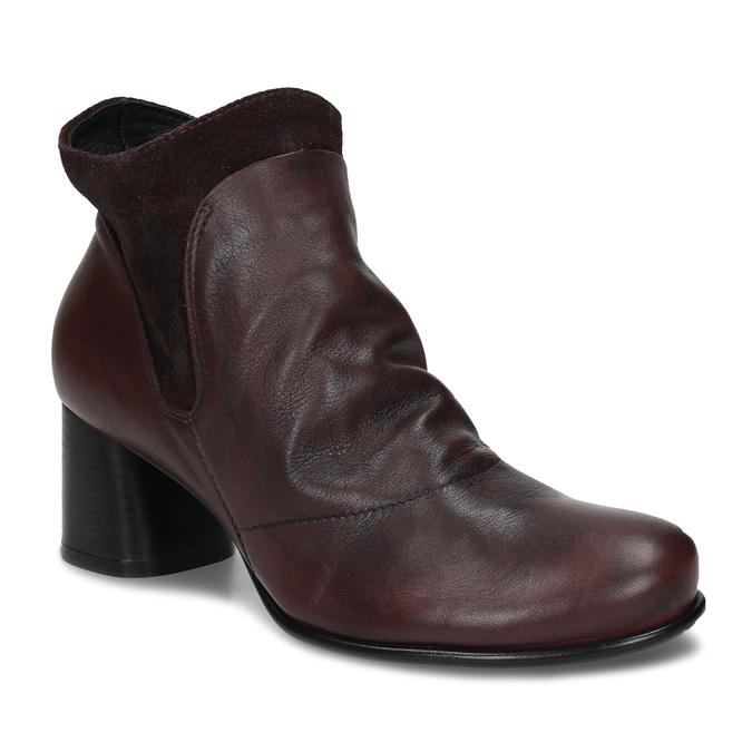 Vínová kožená dámská kotníková obuv s řasením na nártu bata, červená, 696-5612 - 13
