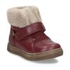 Dívčí vínová kožená kotníková zimní obuv s kožíškem froddo, červená, 194-5612 - 13