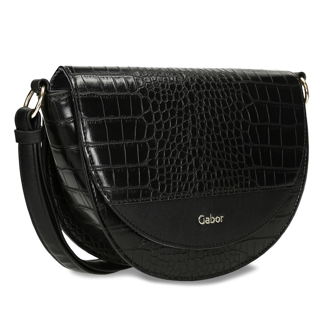 Lesklá půlkulatá kabelka s hadí texturou gabor, černá, 961-6845 - 13
