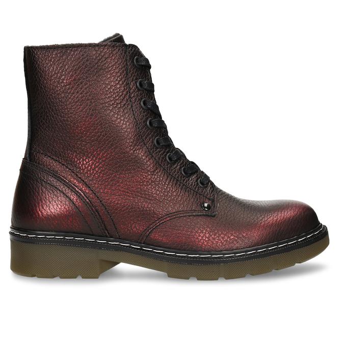 Metalicky červená kožená dívčí kotníková obuv bullboxer, červená, 424-5605 - 19