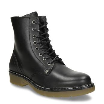 Černá dívčí kožená kotníková obuv s hrubou podešví bullboxer, černá, 424-6605 - 13