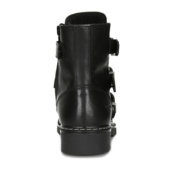 Černá dívčí kožená kotníková obuv s výraznými přezkami bullboxer, černá, 424-6607 - 15