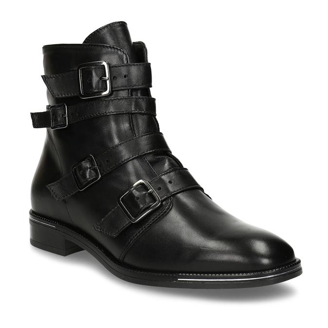 Kožená kotníková obuv s výraznými aplikacemi bata, černá, 594-6733 - 13