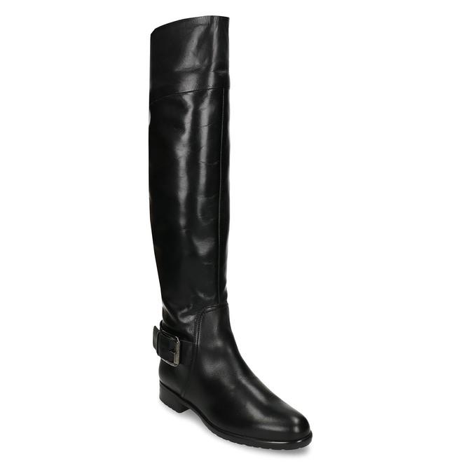 Černé kožené kozačky s přezkou bata, černá, 594-6698 - 13