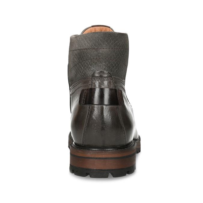 Pánská zimní kotníková obuv v tmavě hnědé kůži bata, šedá, 896-2615 - 15