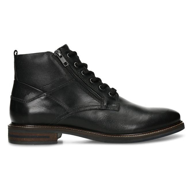 Pánská kotníková obuv v černé kůži a zipy na stranách bata, černá, 894-6610 - 19