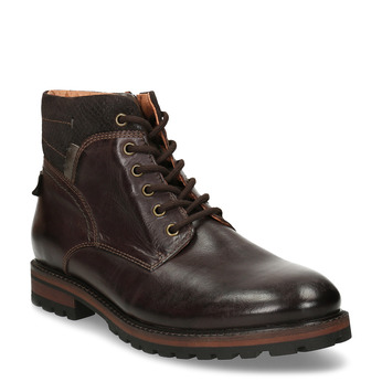 Pánská kotníková obuv z tmavě hnědé kůže bata, hnědá, 896-4615 - 13