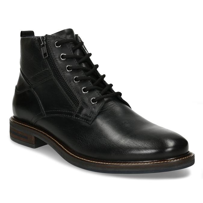 Pánská kotníková obuv v černé kůži a zipy na stranách bata, černá, 894-6610 - 13