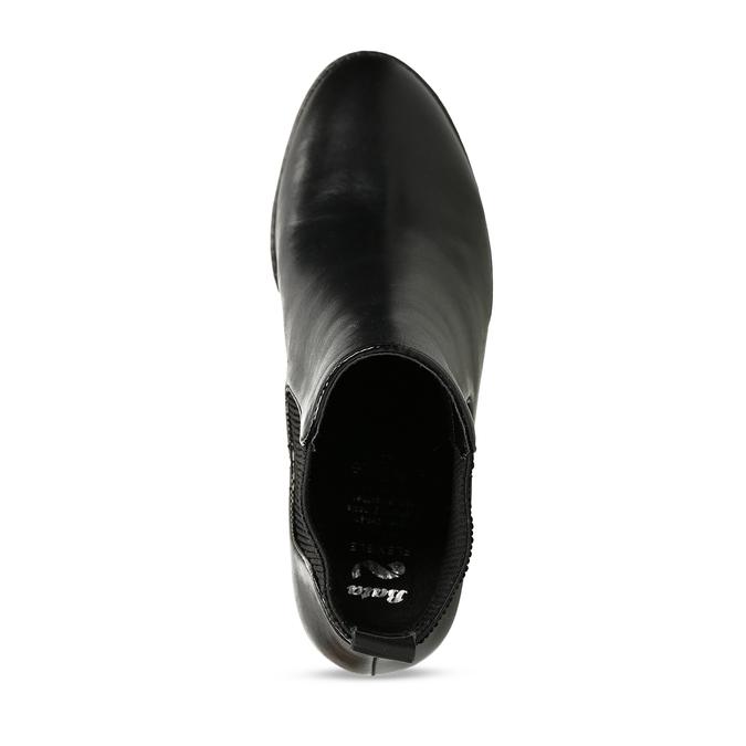 Dámská kožená obuv ve stylu Chelsea Boots se stabilním podpatkem flexible, černá, 794-6631 - 17