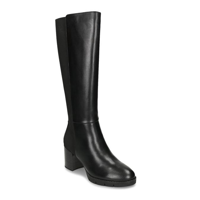 Černé dámské kožené kozačky flexible, černá, 794-6633 - 13