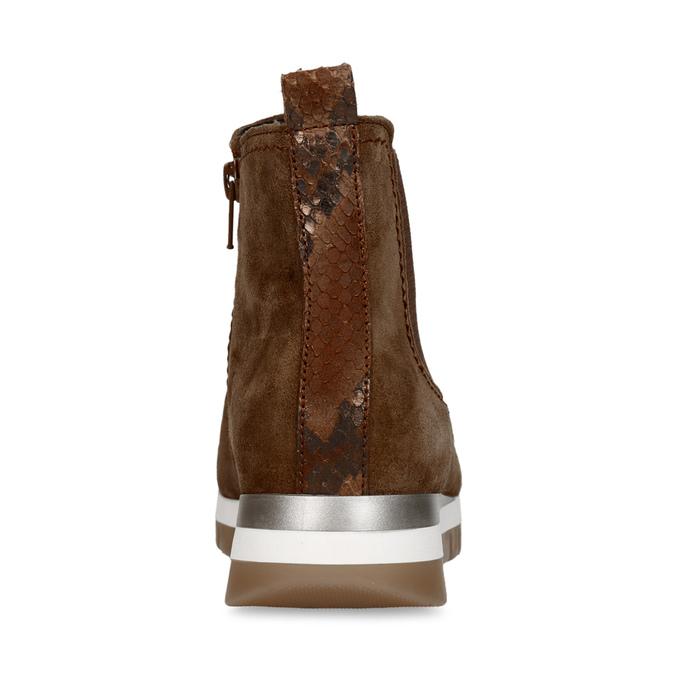 Hnědá dámská kožená kotníková obuv gabor, hnědá, 593-3103 - 15